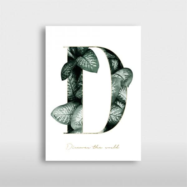 "Letter Print A3 ""D"" Green"