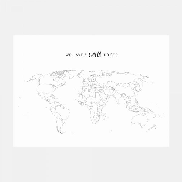 Weltkarte mit Sticker