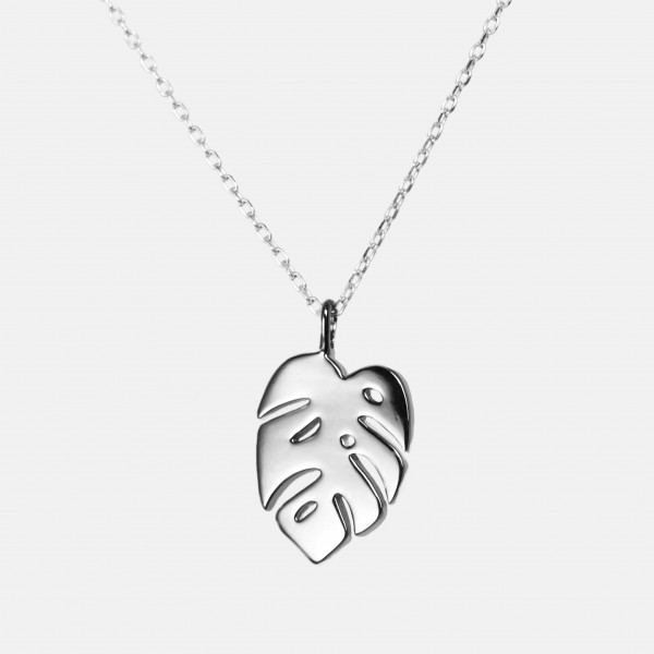 Monstera Necklace Silver