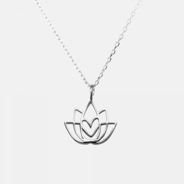 Lotus Flower Necklace Silver