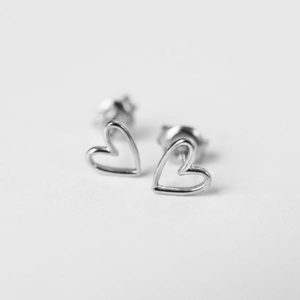 Herz-Ohrstecker Silber