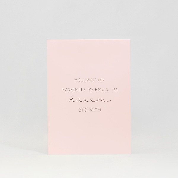 "JO & JUDY - Card ""Favorite Person"" - Light Pink - Front"