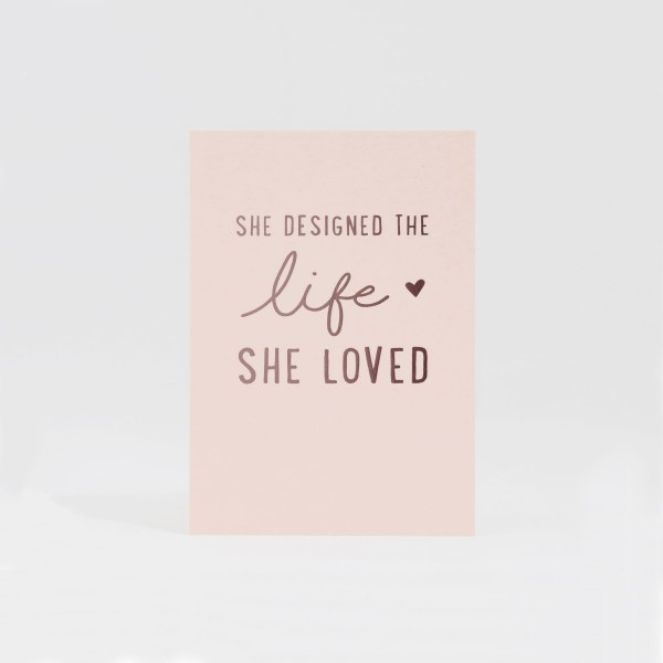 JO & JUDY - Card A6 Pink - She designed the Life she loved - Front