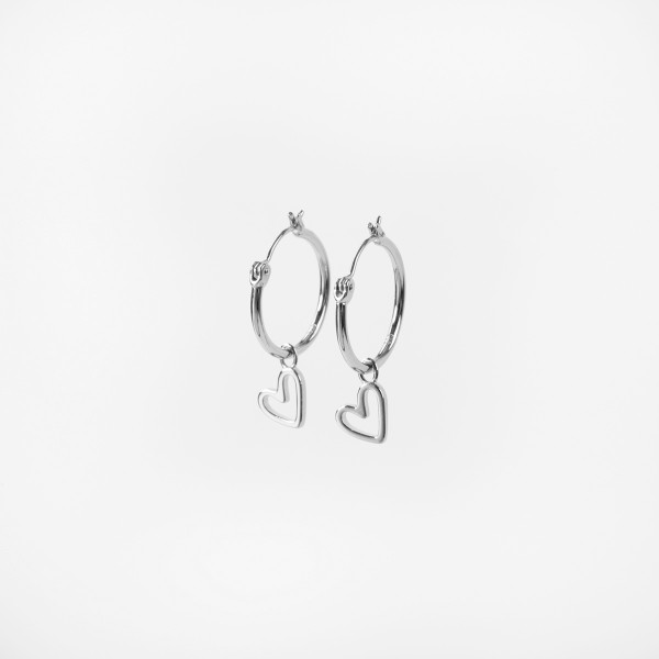 "Hoop Charm ""Floating Heart"" + Hoops (2er Set) Silver"