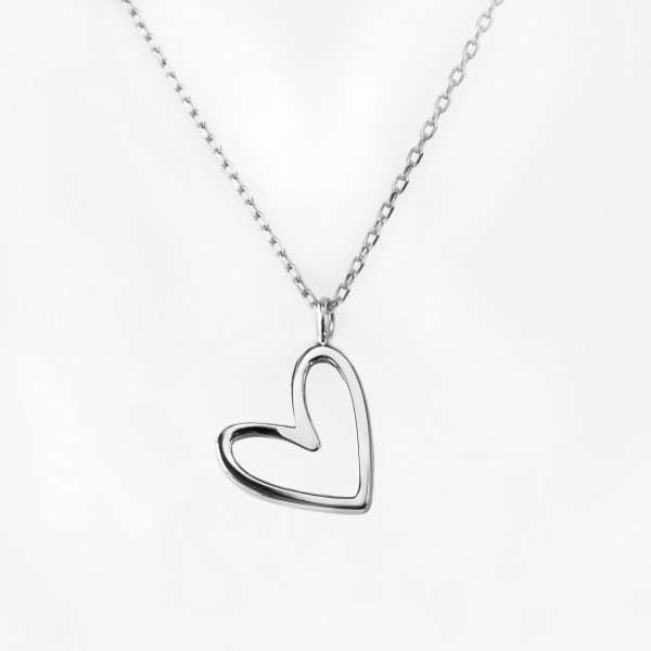 JO & JUDY – Floating Heart Necklace Silver