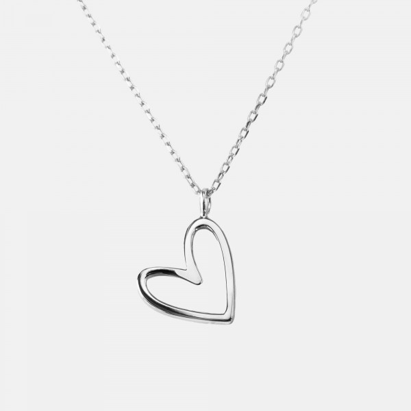 Floating Heart Necklace Silver