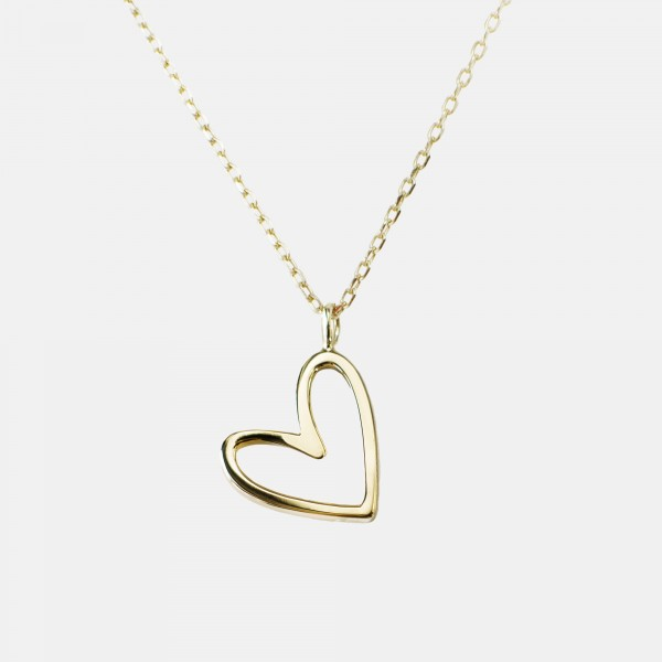 Floating Heart Necklace Gold