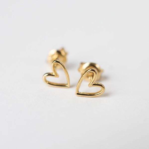 Heart Studs Gold