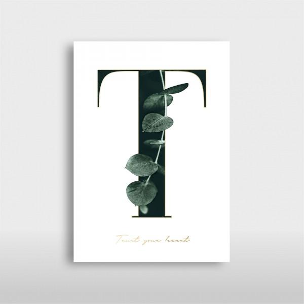 """Letter Print A3 """"T"""" Green – JO & JUDY"""