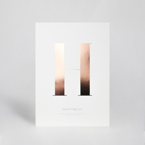 "JO & JUDY - Letter Print ""H"" - Rose Gold"