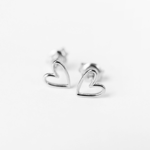 Heart Studs Silver