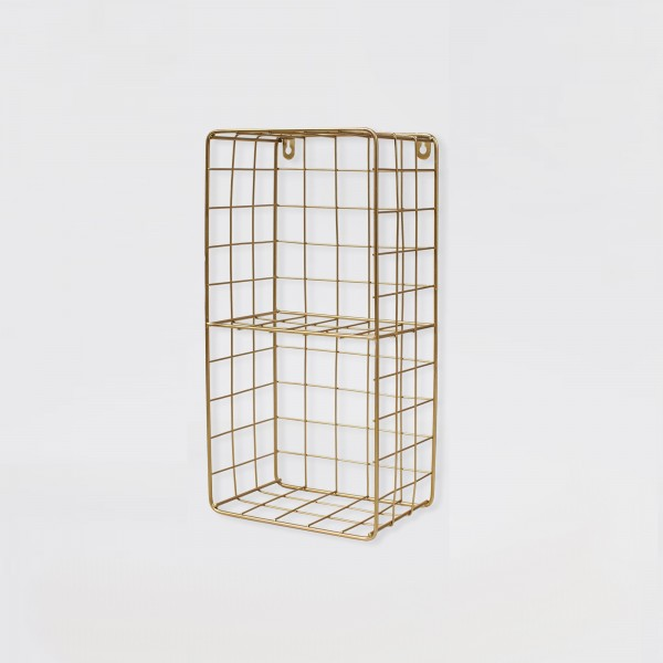 Metal Wire Wall Shelf Gold