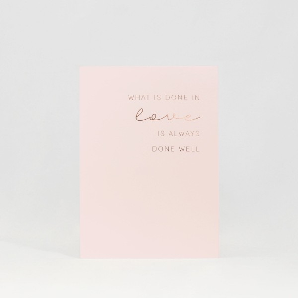 "JO & JUDY - Card ""Done in Love"" - Light Pink - Front"
