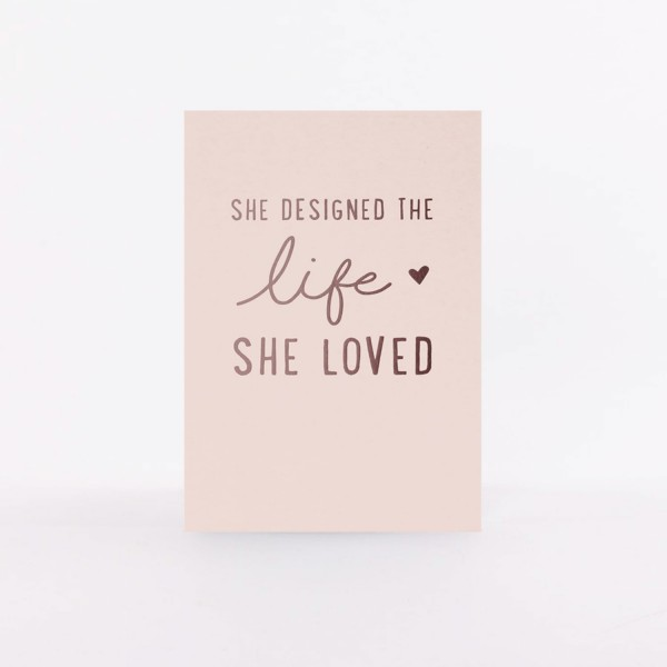 "Postcard ""She Designed the Life"""