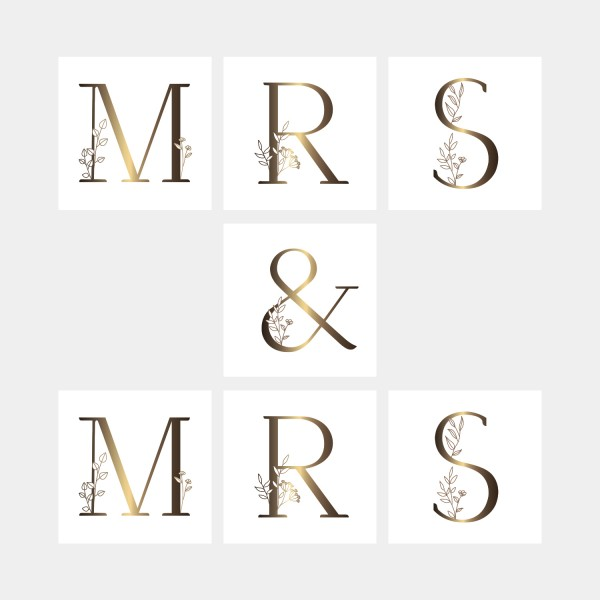 "Letter Postcards Set ""Mrs & Mrs"""